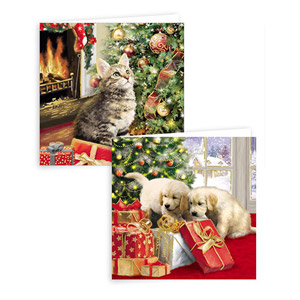 Gift Maker Traditional Puppy and Kitten Christmas Cards 10 Pack