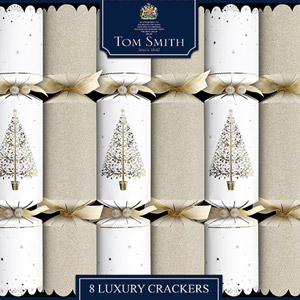 Tom Smith Luxury Crackers Gold & White Tree Foil Finish 8 Pack