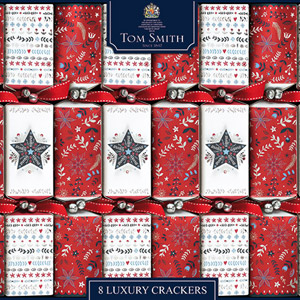 Tom Smith Luxury Crackers Red & White Foil Finish 8 Pack