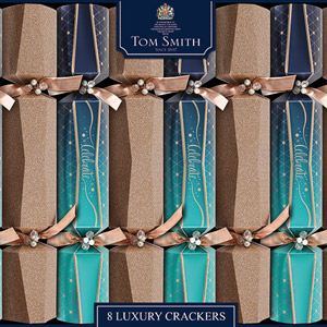 Tom Smith Luxury Crackers Teal & Gold Celebrate 8 Pack
