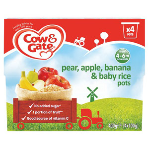 Cow & Gate 4 Month Pears, Bananas, Apples & Baby Rice 4 Pack