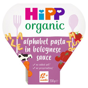 Hipp 12 Month Organic Alphabet Pasta Shapes with Bolognese Sauce Tray