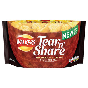Walkers Tear & Share Sticky Bbq Rib Crisps